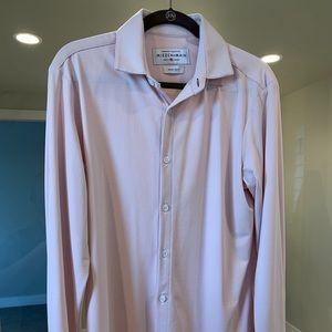 Mizzen+Main Men's Medium Pink Dress Shirt Trim Fit
